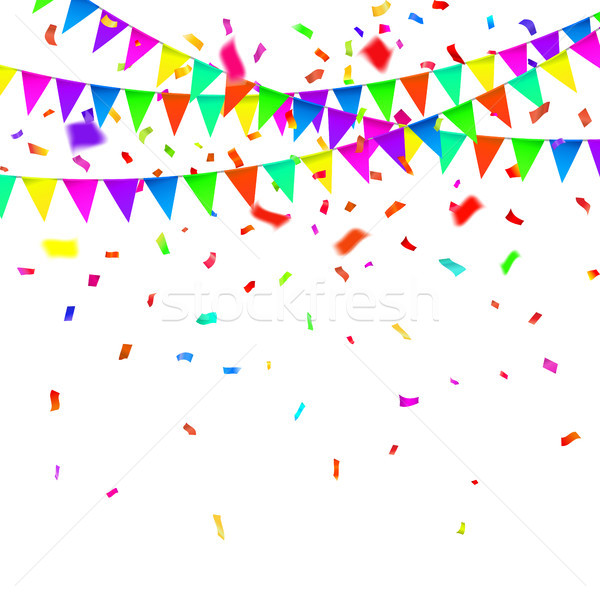 Party Background with Flags Vector, Colored confetti and festoons on the white background Stock photo © olehsvetiukha