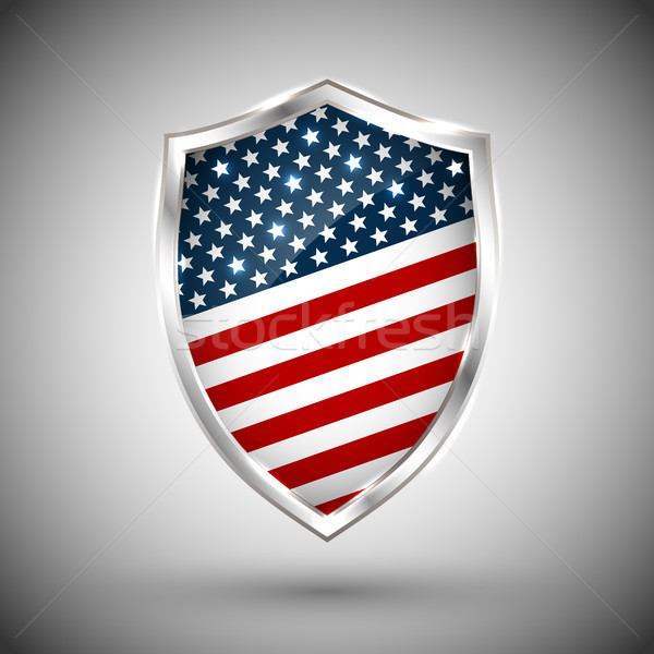 President's day shield banner with stars and stripes presentation. Independence Day shield icon with Stock photo © olehsvetiukha