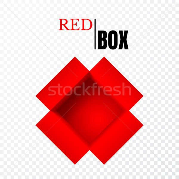 Open box, red cardboard, vector container Stock photo © olehsvetiukha
