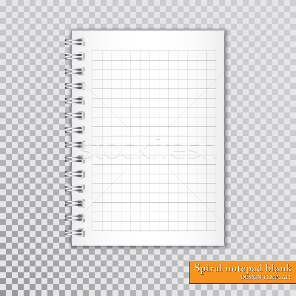 Stock photo: Realistic spiral notepad blank on transparent background. Vector