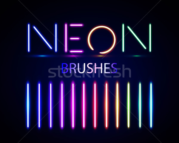 Neon brushes set. Set of colorful light objects on dark backgroun Stock photo © olehsvetiukha