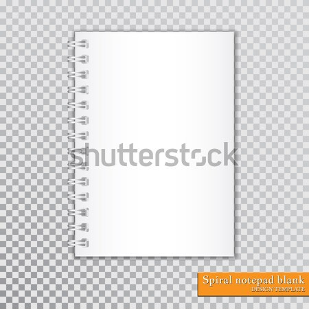 Realistic spiral notepad blank on transparent background. Vector Stock photo © olehsvetiukha