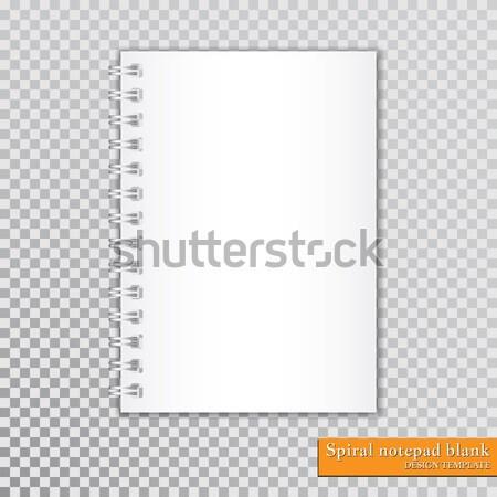 Gerçekçi spiral notepad şeffaf vektör kitap Stok fotoğraf © olehsvetiukha