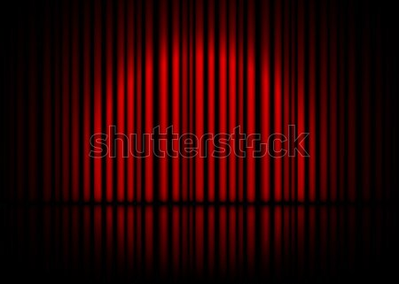 Theatrical scene with red curtains and reflection. Stock vector illustration Stock photo © olehsvetiukha