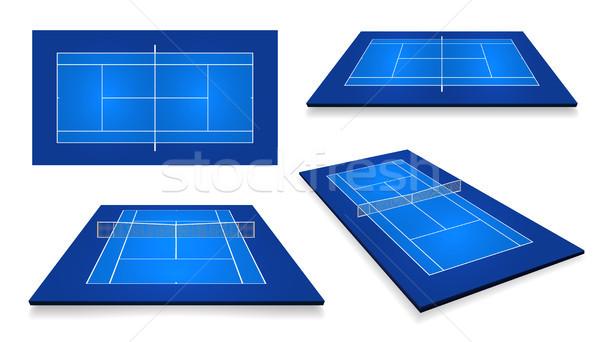 Quadra de tênis topo ver diferente perspectiva eps10 Foto stock © olehsvetiukha