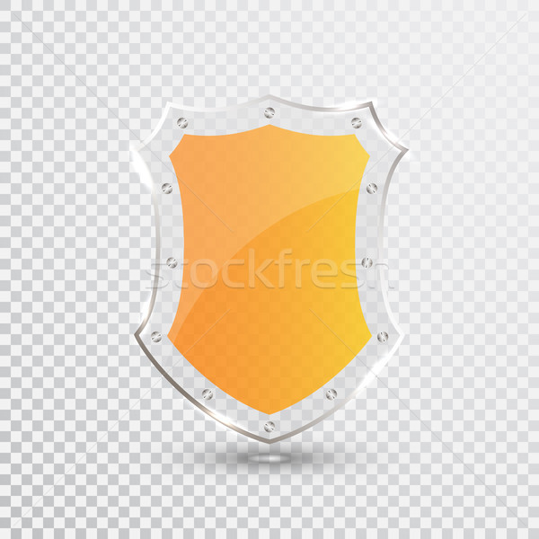 Transparent Yellow Shield. Safety Glass Badge Icon. Privacy Guard Banner. Protection Shield Concept. Stock photo © olehsvetiukha