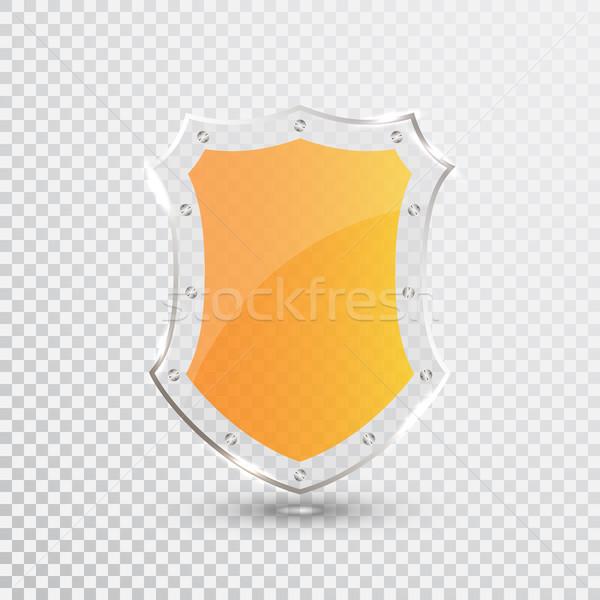 Transparent jaune bouclier sécurité verre badge Photo stock © olehsvetiukha