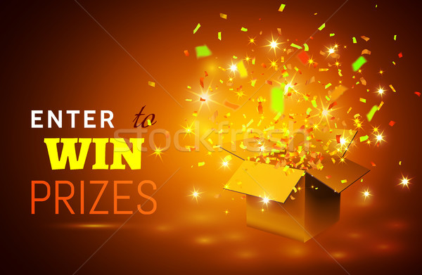 Stock photo: Open Gift Box and Confetti on yellow background. Enter to Win Prizes. Vector Illustration