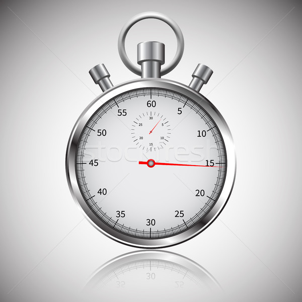Stopwatch. Classic chrome stopwatch. Glass reflections. Clipping path Stock photo © olehsvetiukha