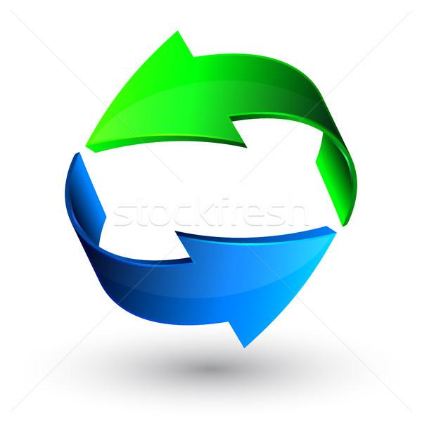 Zöld kék 3D nyilak vektor háttér Stock fotó © olehsvetiukha