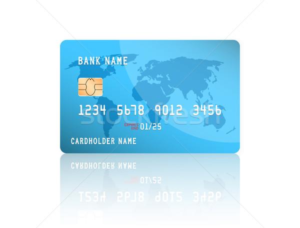 Realista detallado tarjeta de crédito mapa del mundo azul diseno Foto stock © olehsvetiukha