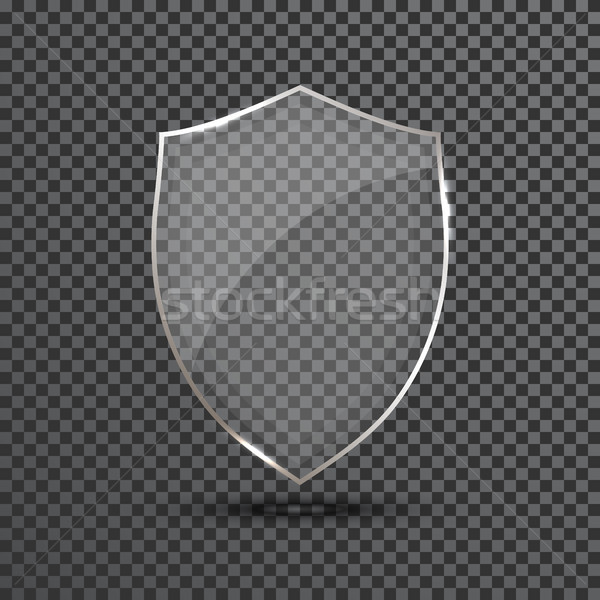 Transparent Shield. Safety Glass Badge Icon. Privacy Guard Banner. Protection Shield Concept. Decora Stock photo © olehsvetiukha