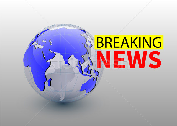 Breaking news, world news backgorund with planet, TV news design. Vector Stock photo © olehsvetiukha