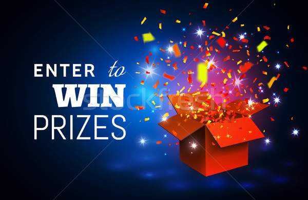 Open Red Gift Box and Confetti on blue background. Enter to Win Prizes. Vector Illustration Stock photo © olehsvetiukha