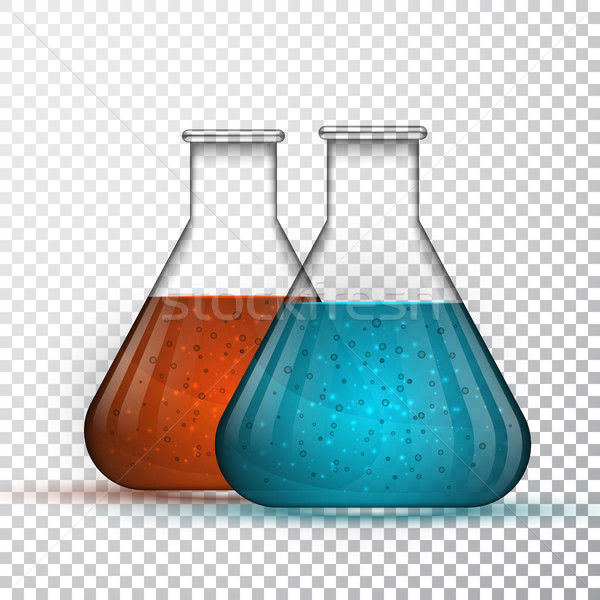laboratory glassware or beaker. Chemical laboratory transparent flask with liquid. Vector illustrati Stock photo © olehsvetiukha