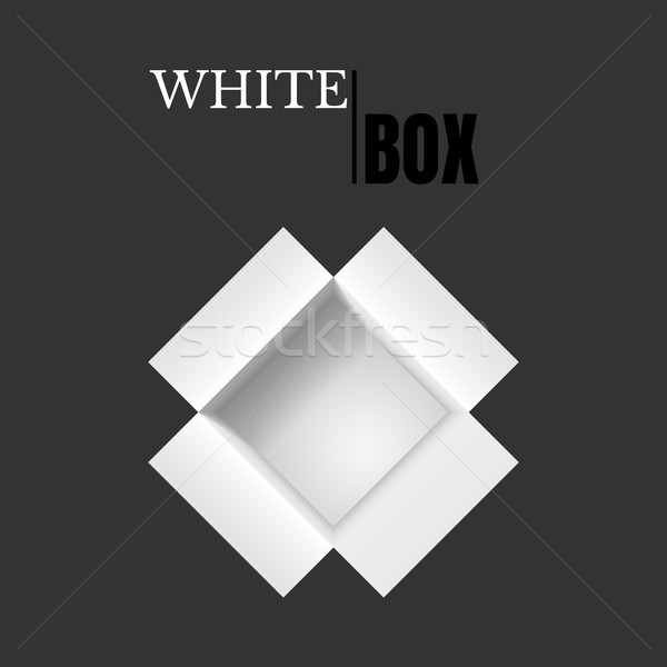 Open box, white cardboard, vector container Stock photo © olehsvetiukha