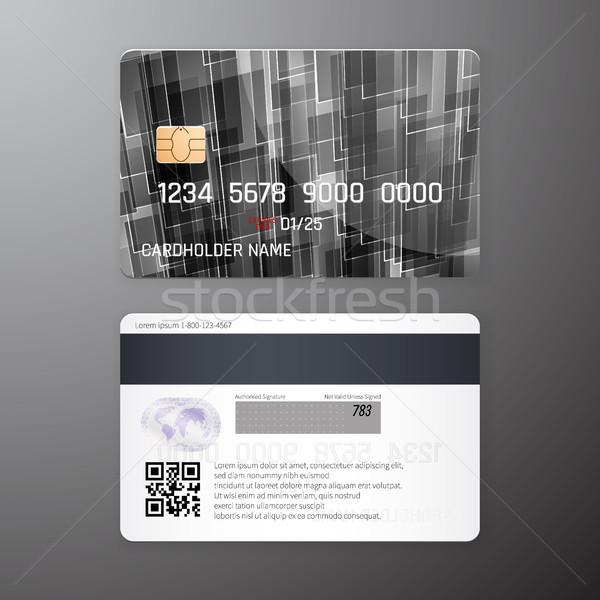 Vektor részletes hitelkártyák szett fekete absztrakt Stock fotó © olehsvetiukha