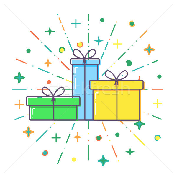 Flat Gift boxes vector Stock photo © olehsvetiukha