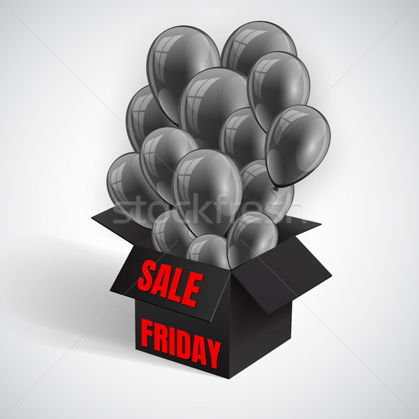 Black Friday Sale Poster with Dark Shiny Balloons Bunch flying from open black box. Vector illustrat Stock photo © olehsvetiukha