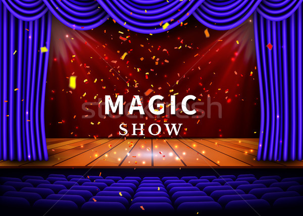 A theater stage with a blue curtain and a spotlight and wooden floor. Magic Show poster. Vector Stock photo © olehsvetiukha