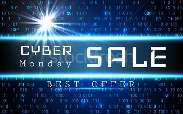 Cyber Monday Sale vector banner template. Blue shining binary code background with arrows and sample Stock photo © olehsvetiukha