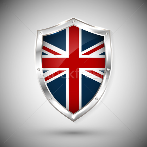 Great Britain flag on metal shiny shield vector illustration. Collection of flags on shield against  Stock photo © olehsvetiukha
