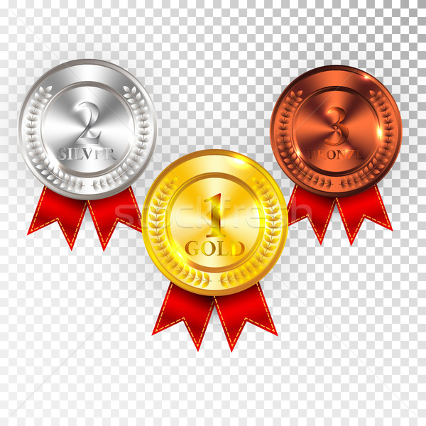 Kampioen goud zilver bronzen medaille Stockfoto © olehsvetiukha