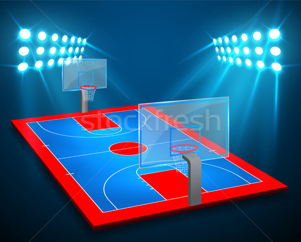 An illustration of perspective Basketball arena field with bright stadium lights design. Vector EPS  Stock photo © olehsvetiukha