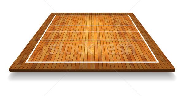 Foto stock: Ilustração · madeira · de · lei · perspectiva · voleibol · tribunal