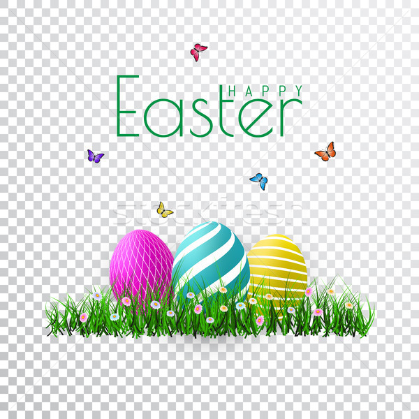 Vector Easter eggs with grass, butterfly and flowers isolated on a transparent background. Element f Stock photo © olehsvetiukha