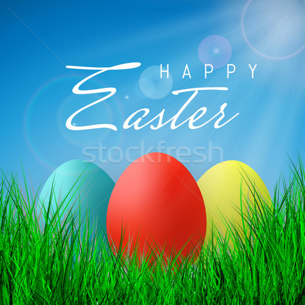 Happy Easter, Color Eggs Collection With Gradient Mesh, design template, Vector Illustration Stock photo © olehsvetiukha