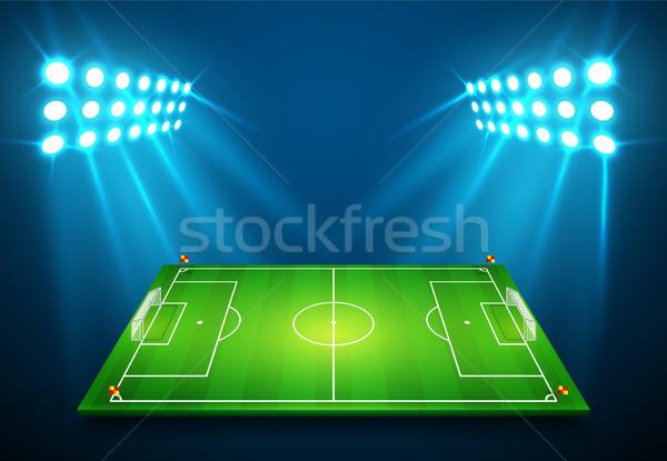 Ilustración fútbol campo de fútbol brillante estadio luces Foto stock © olehsvetiukha
