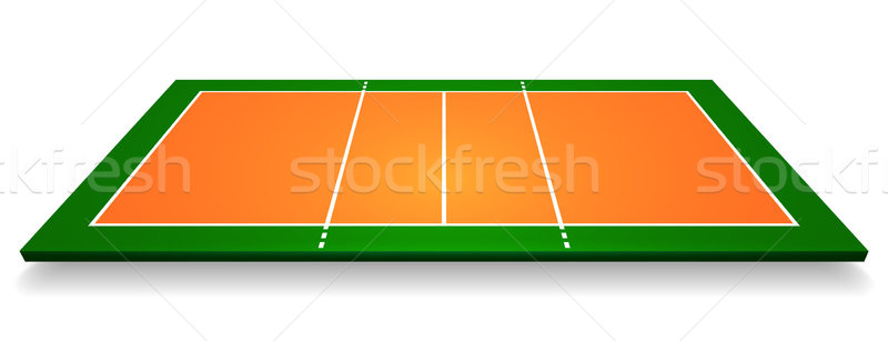 An illustration of an aerial view with perspective volleyball court. Vector EPS 10 Stock photo © olehsvetiukha