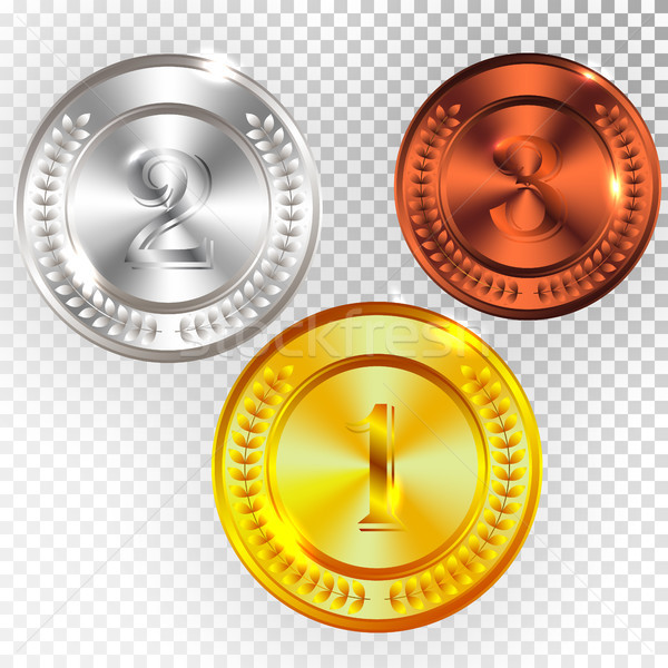 Champion Gold, Silver and Bronze Medal Icon Sign First, Second and Third Place Collection Set Isolat Stock photo © olehsvetiukha