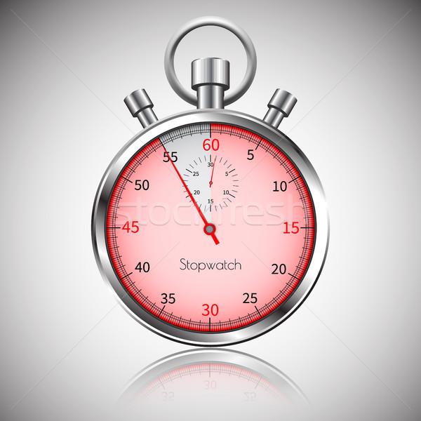 Seconden zilver realistisch stopwatch reflectie vector Stockfoto © olehsvetiukha