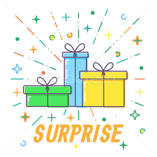 Surprise Flat Gift boxes vector Stock photo © olehsvetiukha