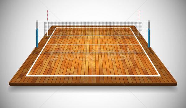 Perspective vector illustration of hardwood vollyball field court with net. Vector EPS 10. Room for  Stock photo © olehsvetiukha