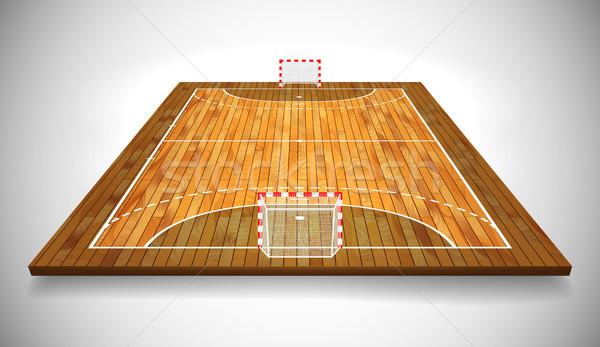 Perspective vector illustration of hardwood handball field, cort. Vector EPS 10. Room for copy Stock photo © olehsvetiukha