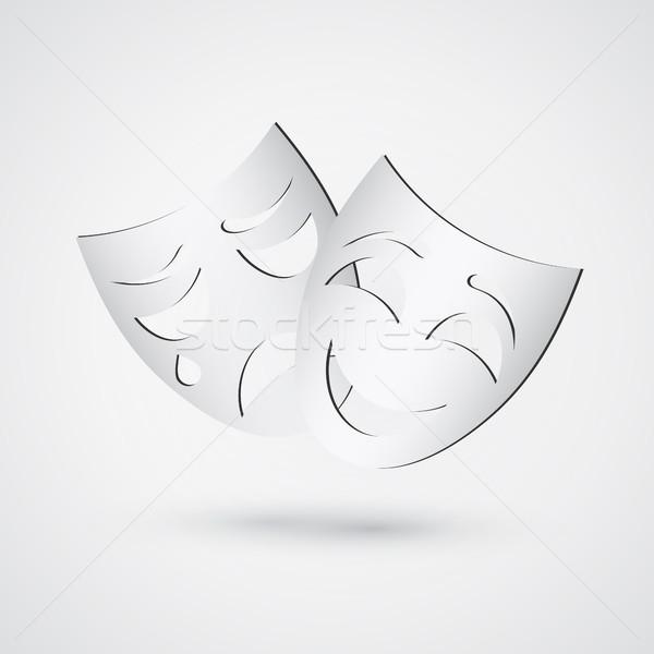 Boldog szomorú színház maszkok egyszerű ikon Stock fotó © olehsvetiukha