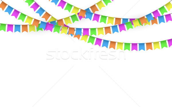 Party Background with Flags Vector, Colored festoons on the white background Stock photo © olehsvetiukha