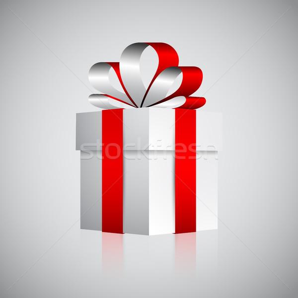 Foto stock: Branco · caixa · de · presente · valentine · natal · apresentar