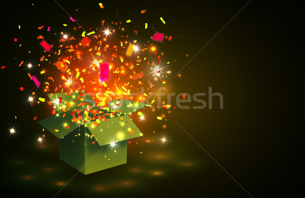 Open yellow Gift Box and  color Confetti on yellow background. Vector Illustration Stock photo © olehsvetiukha