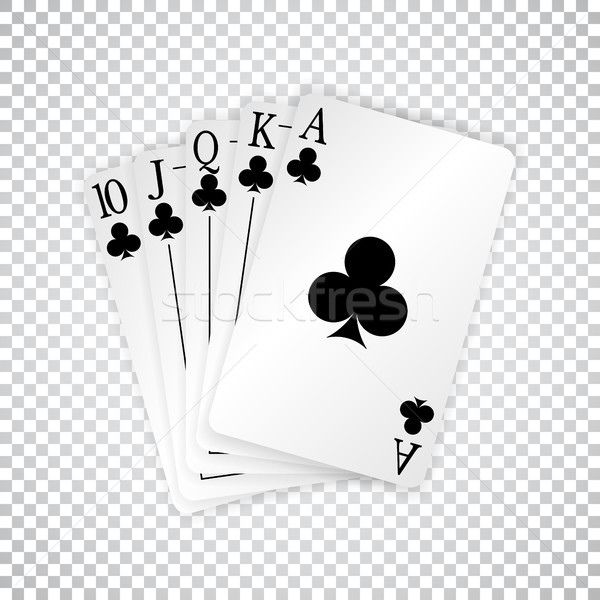 A royal straight flush playing cards poker hand in clubs Stock photo © olehsvetiukha
