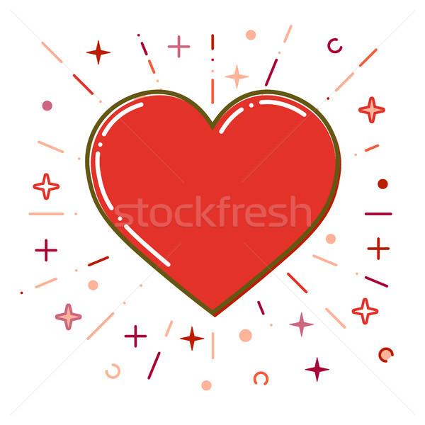 Stock fotó: Piros · szív · ikon · vékony · vonal · terv