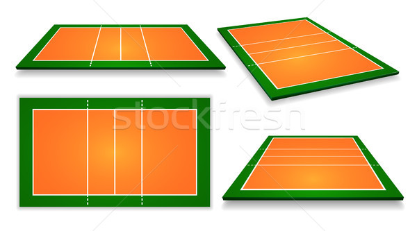 An illustration of an aerial view volleyball court set. Vector EPS 10 Stock photo © olehsvetiukha