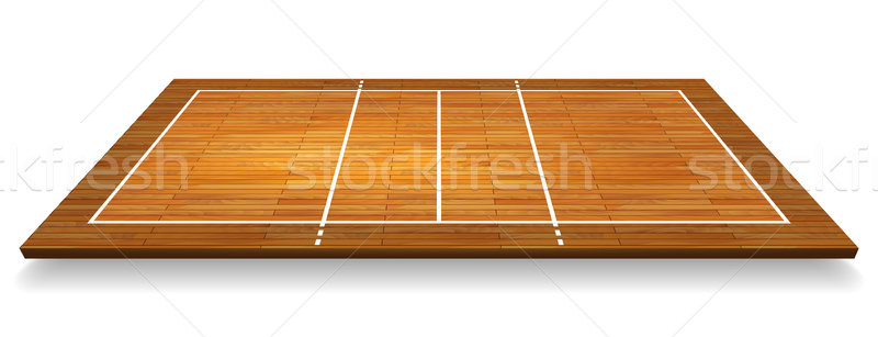 An illustration of an aerial view of a hardwood with perspective volleyball court. Vector EPS 10 Stock photo © olehsvetiukha