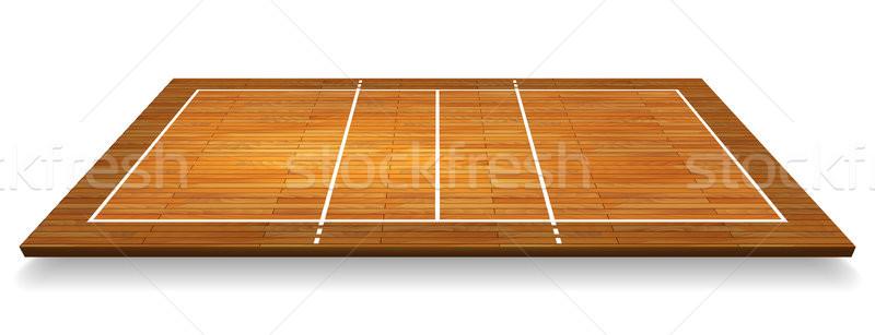 Illustratie luchtfoto hardhout perspectief volleybal rechter Stockfoto © olehsvetiukha