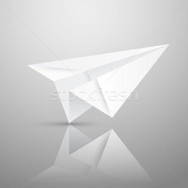 Illustration of red origami paper airplane on white background Stock photo © olehsvetiukha
