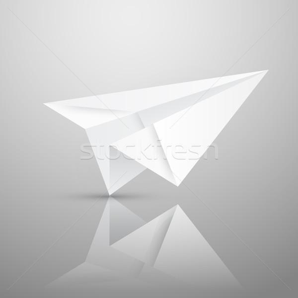 örnek kırmızı origami kağıt uçak beyaz kâğıt Stok fotoğraf © olehsvetiukha
