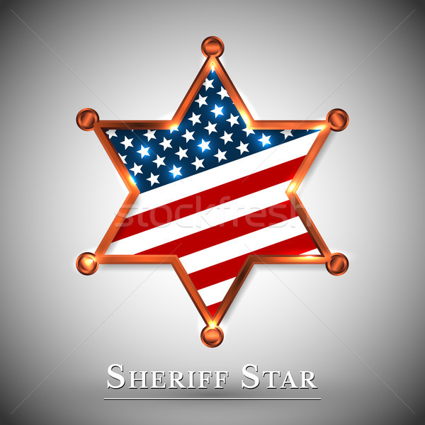 Sheriff badge greeting card with star of USA Stock photo © olehsvetiukha